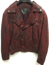 Muubaa Women's Leather Bordeaux Biker Jacket. RRP £299. Size Medium. MM003X.