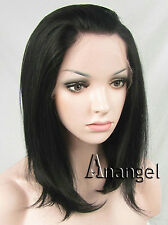 Black Bob Lace Front Wig Straight Heat Resistant Synthetic Hair Brazilian Medium