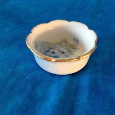 W.G. & Co. LIMOGES FRANCE Salt Dip Cellar Dip Floral Blue Flowers Gold Rim