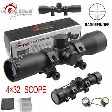 AIM SPORTS Tactical 4X32 Compact .223 .308 Scope /w Rings & Lens Cloth