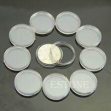 10pcs 23mm Applied Clear Round Cases Coin Storage Capsules Holder Round Plastic