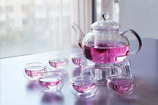 Glass Teapot Heat Resistant 650ml For Blooming tea + 6 Cups + Warmer