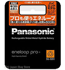 4 Panasonic Eneloop Pro Rechargeable Batteries AA High End Batteries 2500 mAh