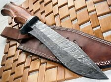 Handmade Damascus Steel 14 Inches Bowie Blade Hand Made Custom Hunting Knife REG