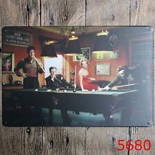 Vintage Tin Sign Playing Billiards Bar pub home Wall Decor Retro Metal Poster