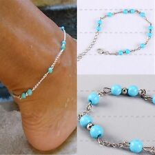 Beach Bead Sandal Silver Plated Anklet Bracelet Foot Chain Barefoot Sexy Jewelry