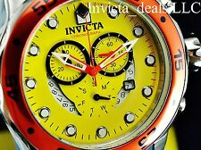 Invicta Men's Scuba Pro Diver Swiss Parts Chrono Yellow Dial Blue Strap SS Watch