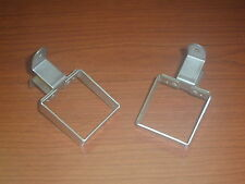 VINTAGE CAR BUD VASE BRACKETS - SQUARE - NEW (2) - STAINLESS