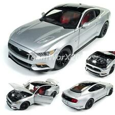 AUTO WORLD AW237 Ingot Silver 2017 Ford Mustang GT Diecast Car 1:18 NEW!!