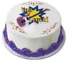 NEW CUPCAKE BIRTHDAY PARTY CAKE TOPPER BLUE YOU ROCK GUITAR ROCKER ROCK ON PUNK