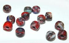 Red Marble 100pc Czech Czechoslovakian Glass 9x6mm Crow Pony Beads