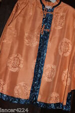 Fine Old Chinese Vtg 20s Embroidered Peach Imperial Silk Court Robe Jacket Coat