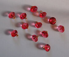 VINTAGE ROSE PINK GLASS BUTTONS ANTIQUE FACETED BEADS OLD • 10mm BUTTON
