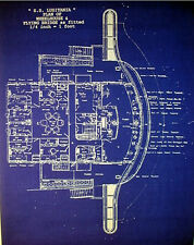 "Vintage Cunard Passenger Ship Lusitania's Bridge Blueprint Plans  17""x24"" (132)"