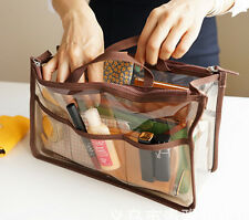 Women's Clear Dual Zipper Toiletry Cosmetics Handbag Organizer Totes Army Green
