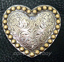 """WESTERN HEADSTALL ANTQIUE HEART GOLD BERRY SADDLE CONCHO 1-1/2"""""""