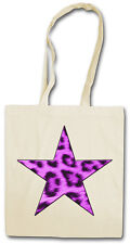 PURPLE LEOPARD FUR STAR HIPSTER BAG - Stofftasche Stoffbeutel - Leo Fell Tattoo