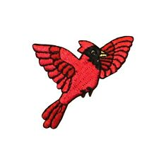 ID 0603 Flying Cardinal Bird Embroidered Iron On Badge Applique Patch