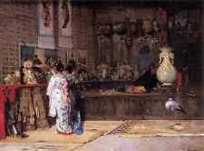 Edouard Castres At The Japanese Market A3 Box Canvas