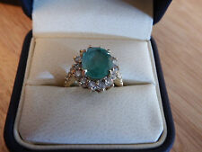 Emerald (3.33) & diamond ring gold ROVAL size 8 14ct 3.33 ct+dia weight +/- 0.60