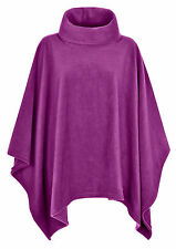 Ladies Women Warm Fleece Polo-Neck Ponchos/Capes Plus Size 14-32