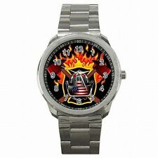 Fire Fighter Helmet Axe Fireman Accessory Men's Stainless Steel Watch New!