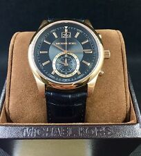 MICHAEL KORS Mens Aiden Rose Gold & Black Leather Watch MK8460 NEW!