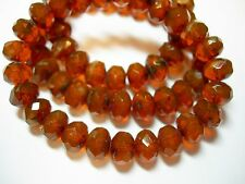 25 8x6mm Yummy Caramel Opal Czech Glass Picasso Rondelle beads
