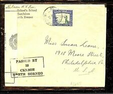 NORTH BORNEO (P1304B) 12C ON CENSOR 23 COVER TO USA