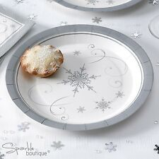 SILVER SNOWFLAKE Luxury Christmas Paper PLATES -Xmas Party- FULL RANGE IN SHOP!