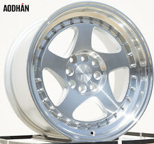 Aodhan Ah01 16X8 4X100/114.3 +15 Silver Rims Fits Rx7 Mustang Accord Ae86 Stance
