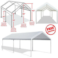 Outdoor Carport Garage Tent 10x20 Car Canopy Shelter Cover Steel Frame Gazebo