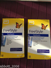 Freestyle Optium Plus Blood Glucose 100 Test Strips No Coding Brand New 2box 50