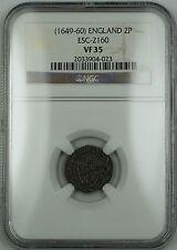 (1649-60) England 2p Half Groat Silver Coin ESC-2160 NGC VF-35 AKR