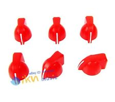Pack 6pcs Red Color Chicken Head Knobs Guitar Effects Pedal Pointer Knobs