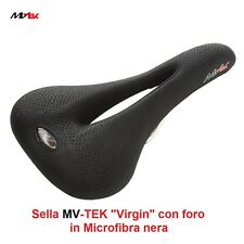 Sella MV-TEK Virgin con Foro Vellutata Nera per Bici 27,5-29 MTB Mountain Bike