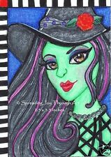 ACEO oRiGiNaL Joy Art Wizard Oz Pretty Beautiful Woman Wicked Witch Elphaba Rose