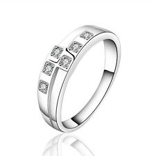 Silver Plated 925 Crystal CZ Chequered Engagement Eternity Ring Size P 8.5 1325