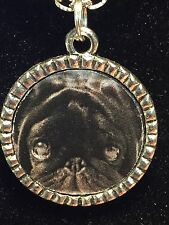 "Dog Pug Black Charm Tibetan Silver with 18"" Necklace G1 BIN"