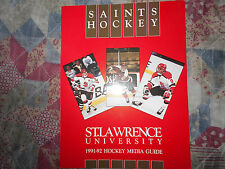 1991-92 ST. LAWRENCE SAINTS HOCKEY MEDIA GUIDE Yearbook 1992 Program Book AD
