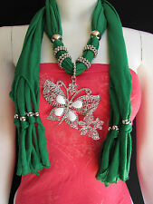 NEW WOMEN SOFT FABRIC GREEN FASHION SCARF LONG NECKLACE HUGE BUTTERFLY PENDANT