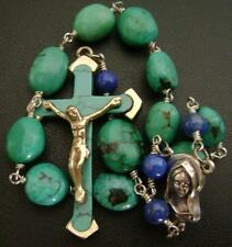 Travel Rosary & Turquoise Cross & Lapis lazuli beads  one decade rosary bracelet