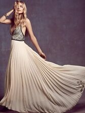 Free People Belle of the Ball Gown Scallop Bodice Maxi Dress Color Tea Size 10US