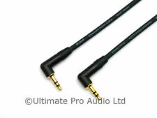 3m Right Angle 3.5mm Mini Jack Plug Lead Neutrik NTP3RC-B Black Gold Contacts