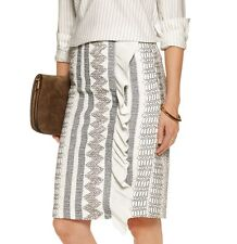 NWT $495 Tory Burch Embroidered Chiffon Pencil Skirt Size 6