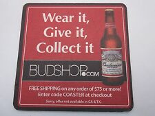 Beer Brewery COASTER    Anheuser Busch BUDWEISER ~ Wear It, Give It, Collect It!
