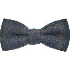 Heritage Check Navy Blue Bow Tie, Tweed, Country Bow Tie