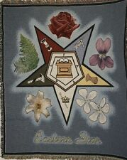 """New `EASTERN STAR` OES Tapestry Throw Blanket 48"""" X 60"""""""