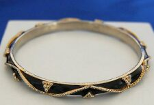 "Joan Rivers Black Enamel with Gold Bangle Bracelet 8"" 20.5cm Wrist"