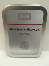 Benson & Hedges Silver Advertising Logo Cigarette Tobacco Storage 2oz Hinged Tin